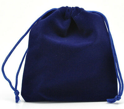 10 New Dark Blue Velveteen Pouch Jewelry Bags With Drawstring 12x10cm
