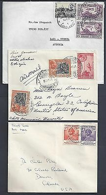 ETHIOPIA 1950s THREE AIRMAIL COVERS FRANKED HAILE SEASIDE ISSUES TO US & AUSTRIA