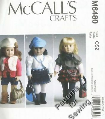 """Pattern McCalls Doll Clothes 6 Outfits Beret Legging 18"""" inch Girl"""
