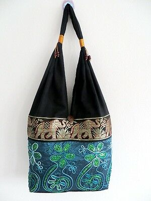 Hippie Hobo Shoulder Bag Tote Sling Yaam Vintage Cotton Silk Free Shipping # 12