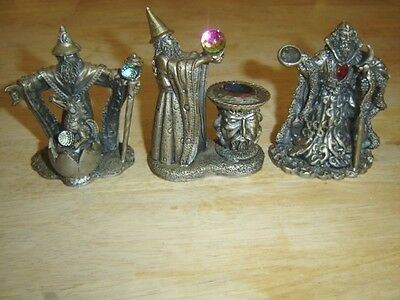 Pewter Wizard Figurines Moon Wizard-Protector of the Young-The Visionary -Signed