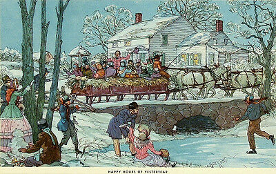 VINTAGE Mid Century c1940s-50s Xmastime/Holiday Print HAPPY HOURS OF YESTERYEAR
