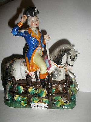 Antique circa 1800`s George Washington horse porcelain inkwell staffordshire