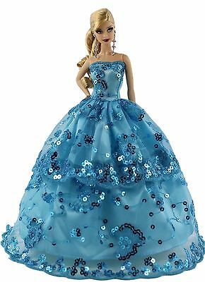 Blue Fashion Party Dress/Wedding Clothes/Gown For Barbie Doll S184P8