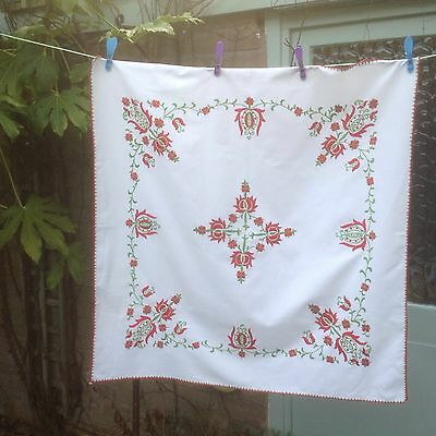 Vintage Heavy Hand Embroidery Tablecloth Hungarian?