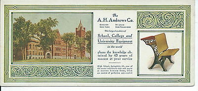 J-170 - A.H. Andrews School Desk Equipment Advertising ink Blotter, 1920's-40's