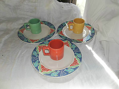 SYRACUSE CHINA DINNER WARE FISH PLATES & MUGS (6) PIECES RARE EXCELLENT