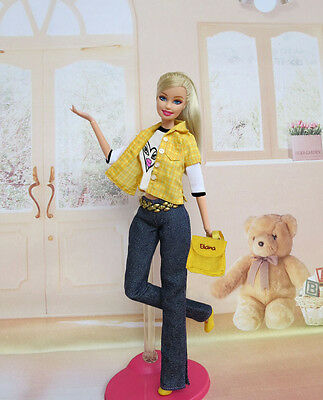 5in1 Fashion clothes/outfit Shirt+Vest+Pants+Shoes+Bag For Barbie Doll U04