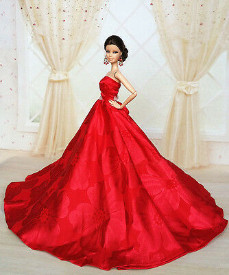 Red Fashion Royalty Princess Party Dress/Clothes/Gown For Barbie Doll S151P8