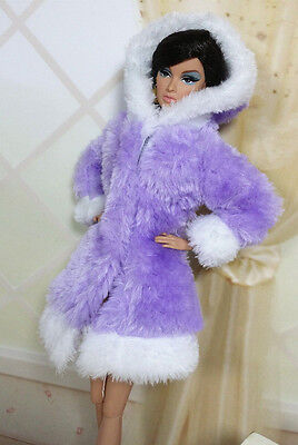 Purple Lovely Fashion Winter fur Coats Clothes/Outfit For Barbie Doll C004P8