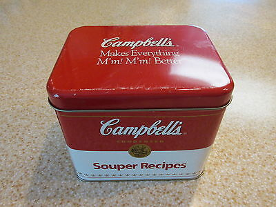 "VINTAGE--CAMPBELL'S ""SOUPER RECIPES""  TIN BOX--COLLECTIBLE"