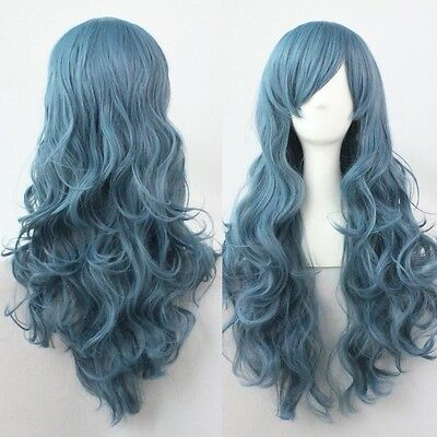 Cool Womens Long Wave Curly Smoke Blue Hair Full Wigs Cosplay Costume Party Wig