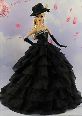 Black Fashion Princess Party Dress Clothes/Gown+Hat+Gloves For Barbie Doll S24P8