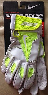 Nike Diamond Elite Pro Batting Gloves White/Volt Size: Adult S GB0335NWT $45