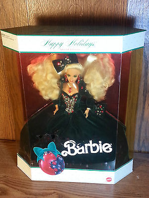 1991 Happy Holidays Mattel Blonde Barbie Doll NIB Special Edition  small crack