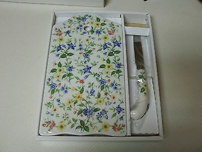Andrea By Sadek ~ Porcelain Cheese Board with Knife ~ Spring Time