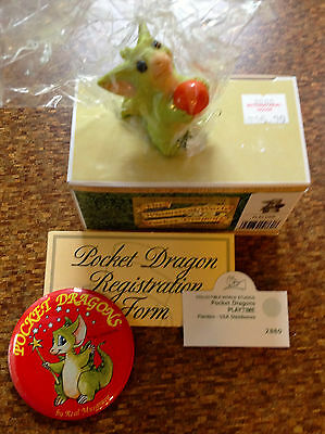 Rare Whimsical World Of Pocket Dragons Real Musgrave PLAYTIME signed + pin NEW
