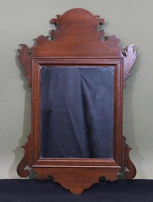 Small Antique 18thC New England Country Chippendale Mahogany Mirror NR