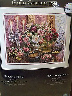 Romantic Floral Dimensions Gold Counted Cross Stitch Kit #35185 16X13 New