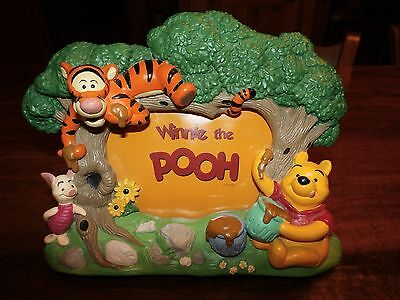 "Disney Store WINNIE THE POOH 3-D Resin 3 1/2"" x 5"" Picture Frame Tigger Piglet"