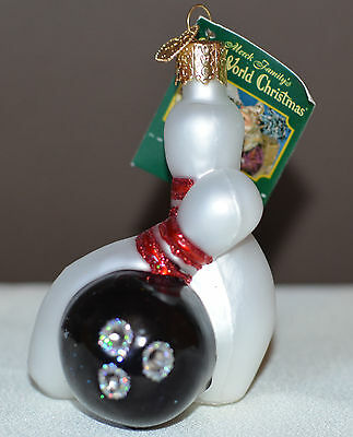 Bowling Ball and Pins Old World Christmas Tree Ornament NWT Mouth Blown Glass