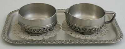 VINTAGE PERLETINN SUGAR CREAMER with TRAY - PEWTER from NORWAY #87049