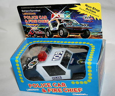 Vtg Lamborghini Cheetah Battery Operated Toy Police Fire Car Truck NOS New 1970s