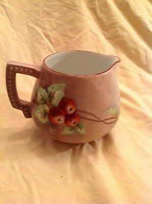 Antique German Classic Bavaria Porcelain pitcher jug w hand painted red apples
