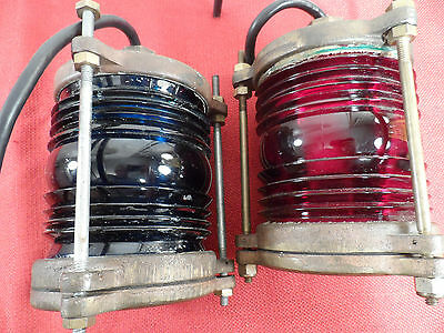 Stunning Authentic brass nautical marine ships lights red and blue