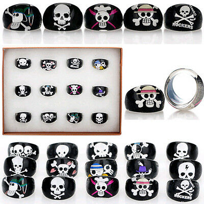 Wholesale 5pcs Lots Black Skull Animal Children Kid Chubby Resin Lucite Rings