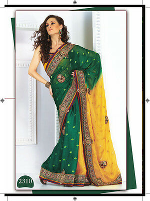 Designer Yellow Green Georgette Heavy Embroidered Indian Bollywood saree SC2310