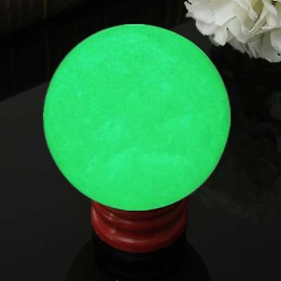 55mm Large Luminous Glow In Dark Stone Quartz Crystal Sphere Ball w/ Base Stand
