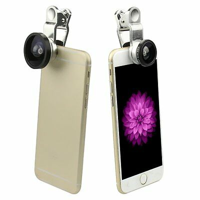 3in1 Universal 180°Fish Eye Fisheye & Wide Angle & Macro Lens for Cell Phone New