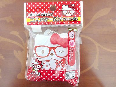 NEW White Hello Kitty Red Ribbon Cosmetics Plastic Cosme Case Japan Limited