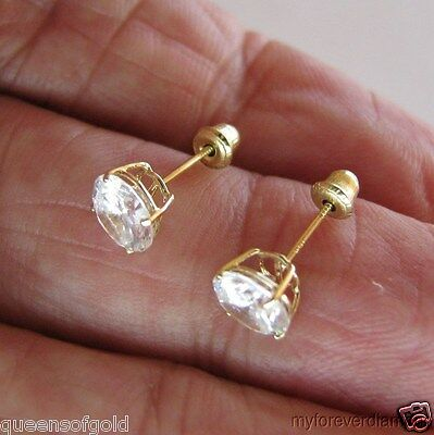 6mm man made Diamond Stud EARRINGS Solid 14K yellow GOLD ROUND SCREW BACK