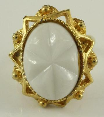 Vintage Costume Jewelry Gold Tone Adjustable White Glass Starburst Oval Ring