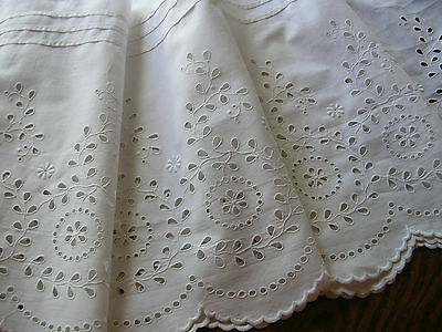 """BEAUTIFUL! Antique German White EYELET BRODERIE ANGLAISE LACE TRIM 11 1/2""""x 60"""""""