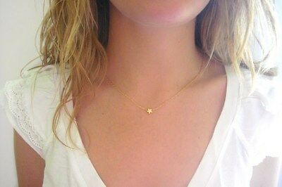 Tiny Matte 14k Gold Plated Star Charm Necklace Mint Pendant Delicate Thin Chain