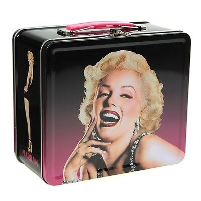 Marilyn Monroe Smiling Lunch Box Metal Clasp Actress Tin Tote