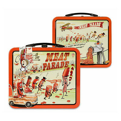 Meat Parade Metal Lunch Box Bacon Hot Dogs Vintage Style Novelty Metal Tin Tote