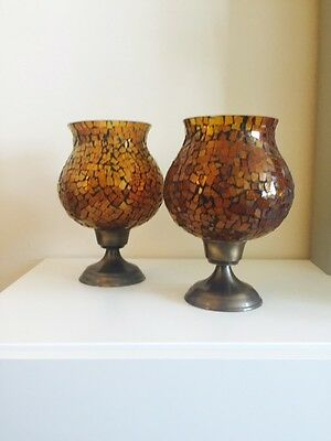 Pier 1, Mosaic Glass Hurricane Candle Holders, Set of 2, Amber