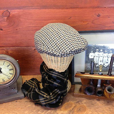 Shandon Made In IRELAND 100% Wool Houndstooth Flat Cap Newsboy Cabbie Size Small