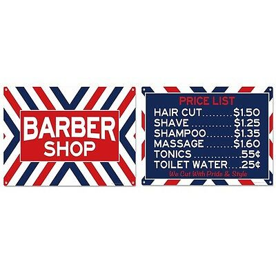 Barber Shop Price List Sign Set Vintage Style Reproductions