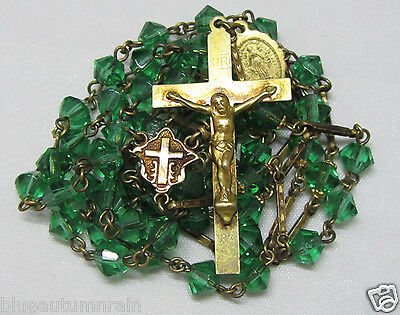 † Htf Antique Gold Washed Capped Green Art Biconed Glass Rosary & Etched Links †