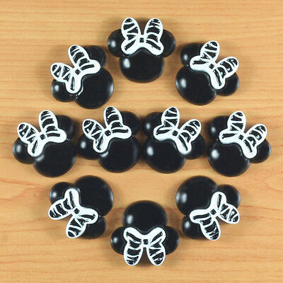 10pcs Resin Black Minnie Mouse Zebra Bow Flatback Scrapbooking Hair Bow Craft #2