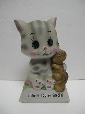 Russ Berrie 819 I Think You're Special Kitten Cat Squirrel Hug Figurine Statue