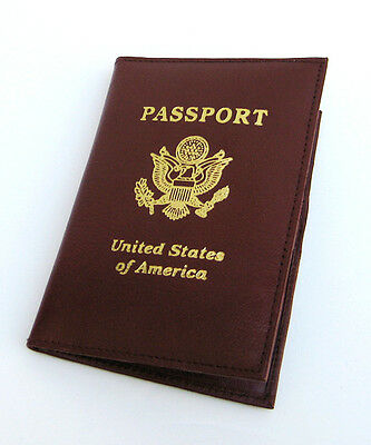 BROWN USA PASSPORT COVER Travel Leather Credit ID Card Holder PP02 NWT