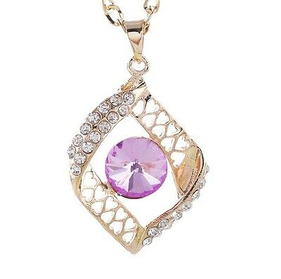 Free shipping Womens 9K Yellow Gold Filled & Crystal Necklace & Pendant Y-I590