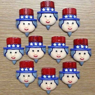 10pcs US Uncle Sam 4th of July Independant Day Patriotic Resin Flatback Craft #2