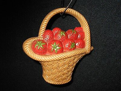 Vintage Burwood Strawberry Basket French Country Shabby Cottage Wall Plaque